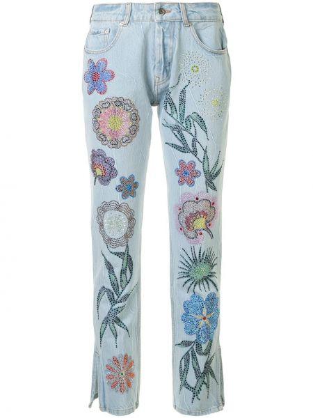 Хлопковые синие джинсы классические с карманами для полных Filles A Papa