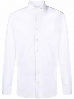Biała biała koszula z długimi rękawami Lardini