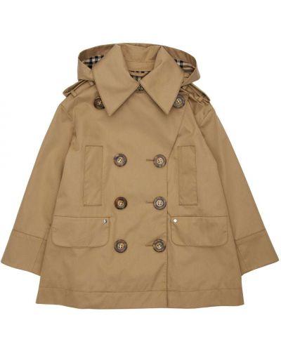 Bawełna beżowy płaszcz z kapturem z kołnierzem Burberry