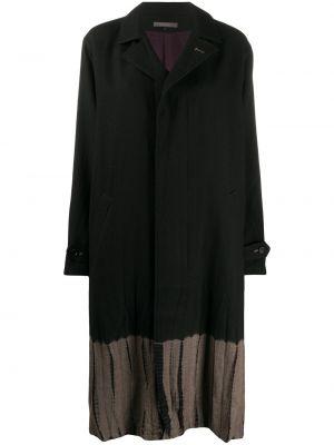 Шерстяное черное длинное пальто с лацканами Suzusan