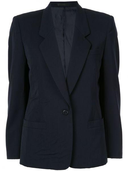 Синяя куртка на пуговицах с лацканами с карманами Burberry Pre-owned