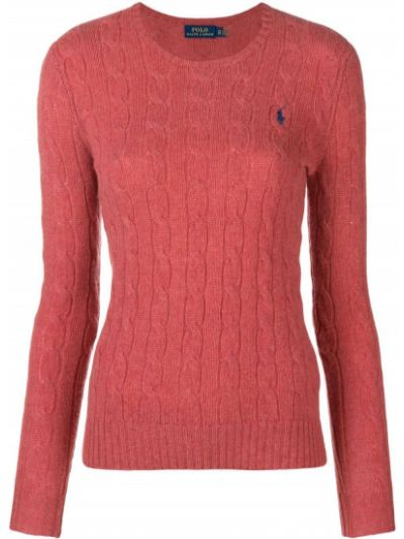 Шерстяная красная свитер с вырезом Polo Ralph Lauren