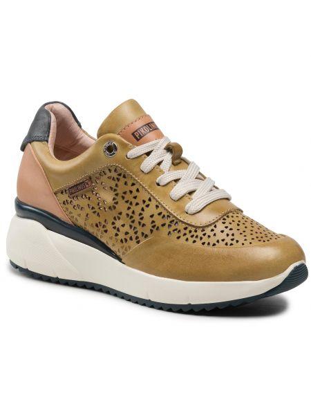 Buty sportowe skorzane - żółte Pikolinos