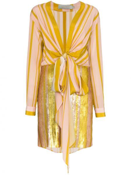 Розовое тонкое платье мини с декольте с манжетами Silvia Tcherassi