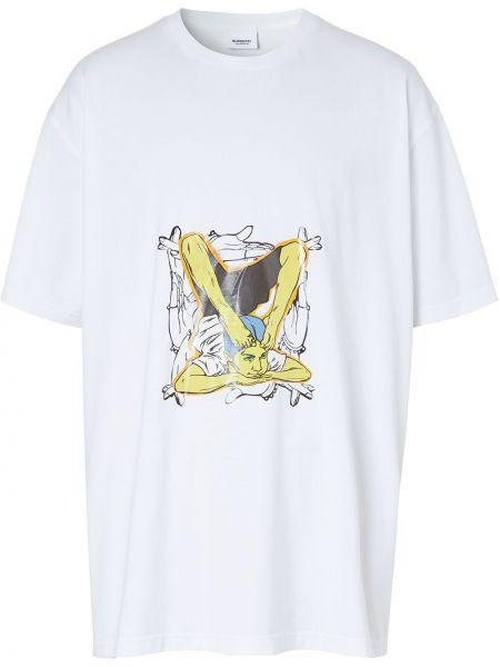 Bawełna biały koszula z krótkim rękawem okrągły dekolt krótkie rękawy Burberry