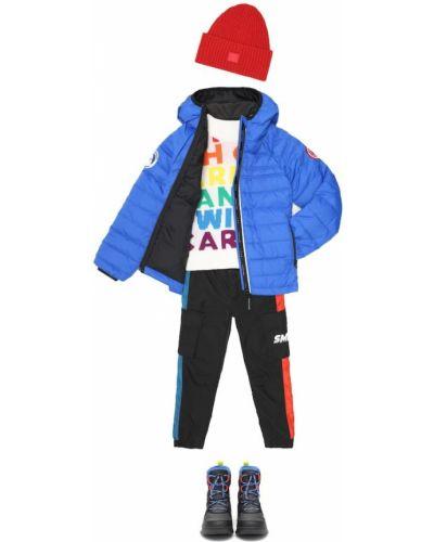 Puchaty niebieski kurtka z kapturem z kieszeniami Canada Goose Kids