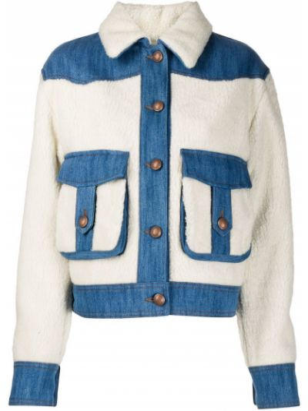 Белая джинсовая куртка из овчины с воротником Jacob Cohen