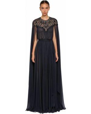 Платье с поясом с вышивкой с бисером Zuhair Murad