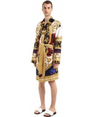 Szlafrok z jedwabiu Versace