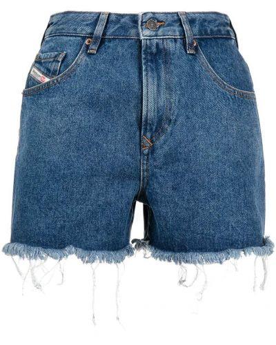 Синие с завышенной талией кожаные джинсовые шорты Diesel