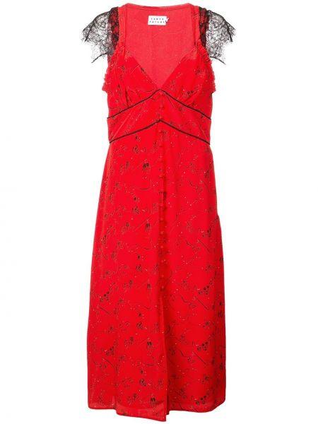 Красное шелковое платье с вырезом узкого кроя Tanya Taylor