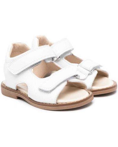 Białe sandały skorzane płaska podeszwa Gallucci Kids