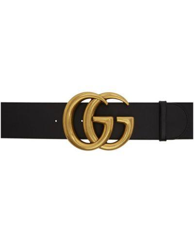 Широкий ремень черный кожаный Gucci