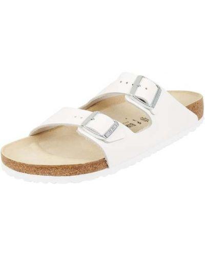 Białe sandały skorzane w paski Birkenstock