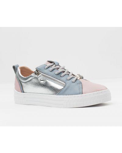 Розовые кожаные кроссовки Vensi