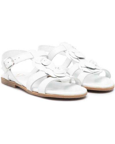 Białe sandały skorzane peep toe Gallucci Kids