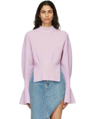 Фиолетовый шерстяной длинный свитер с воротником Alexander Wang
