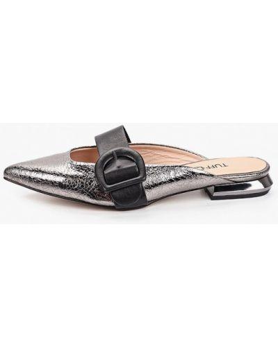 Серебряные кожаные сабо Tuffoni