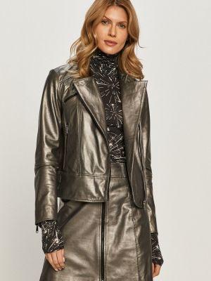 Серая с рукавами кожаная куртка Max&co