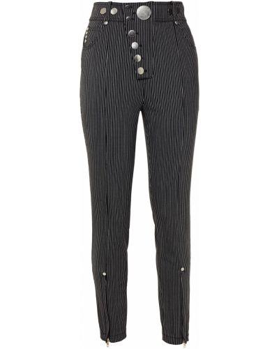 Czarne spodnie rurki wełniane z paskiem Alexander Wang