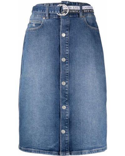 Джинсовая юбка миди - синяя Calvin Klein Jeans