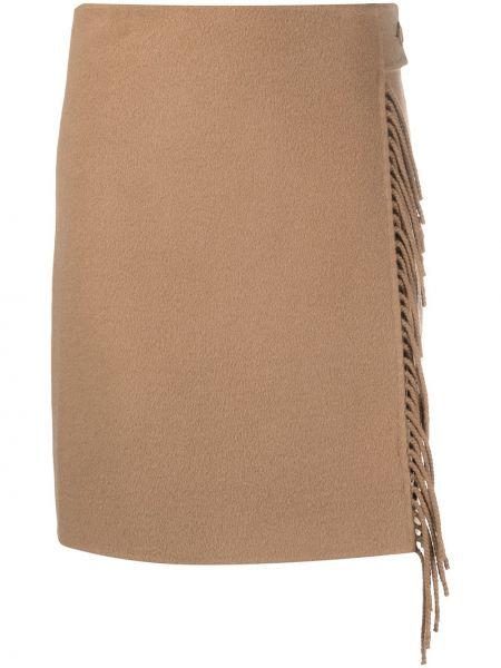 Wełniany brązowy spódnica wysoki wzrost frędzlami Parosh