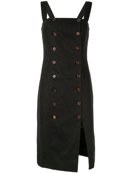 Черное льняное платье миди двубортное с вырезом Venroy