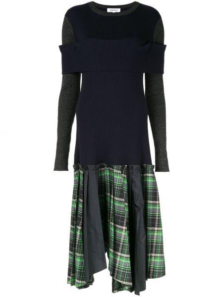 Pofałdowany wełniany wyposażone długo sukienka z długimi rękawami Enfold