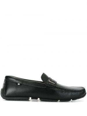 Черные кожаные мокасины без застежки Bally