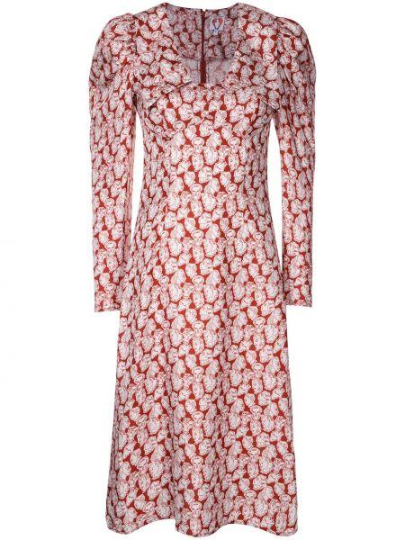 Klasyczna sukienka długa z długimi rękawami z jedwabiu Shrimps