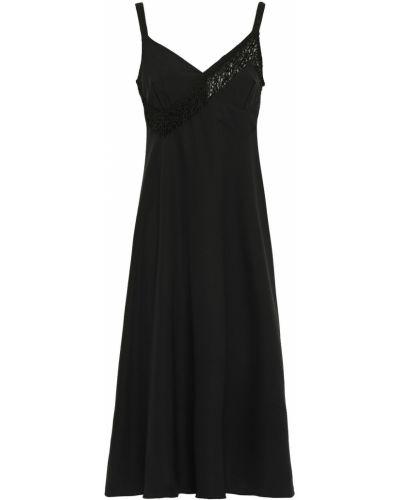 Расклешенное кружевное черное платье миди Beaufille
