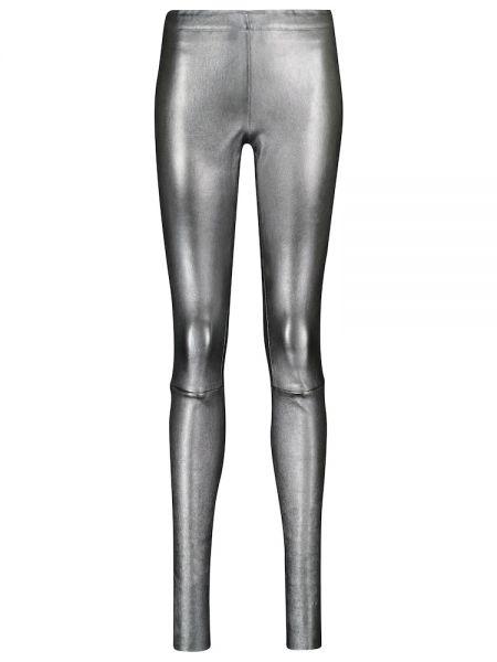 Серебряные кожаные леггинсы Stouls