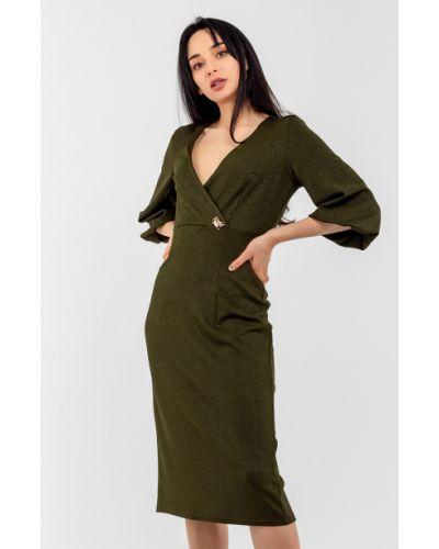 Трикотажное зеленое платье с запахом Modniy Oazis