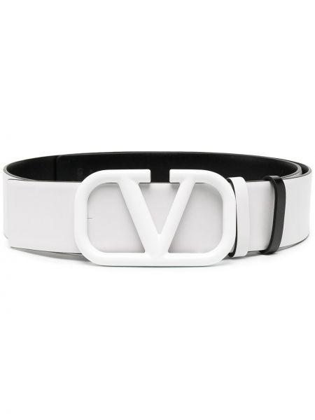 Skórzany biały pasek z klamrą z paskiem Valentino