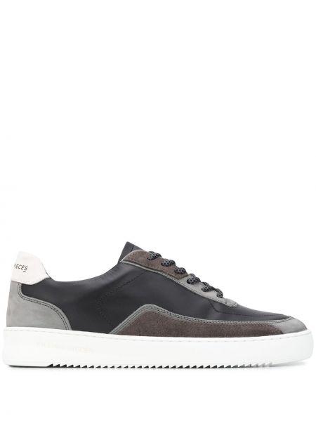 Ażurowy skórzany czarny sneakersy z ozdobnym wykończeniem Filling Pieces