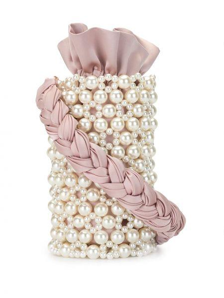 Плетеная розовая большая сумка на шнурках из вискозы 0711