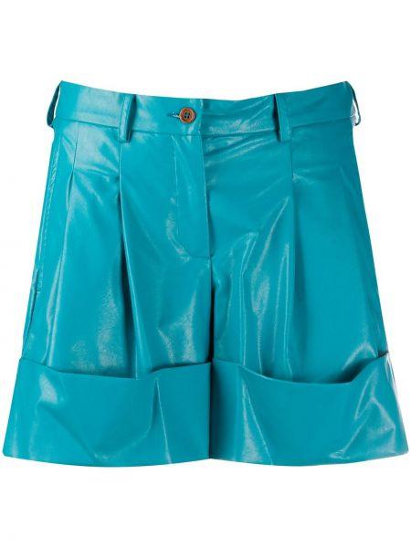 Синие с завышенной талией кожаные шорты Jejia