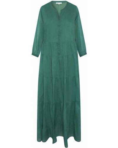 Расклешенное зеленое платье макси с оборками Gerard Darel