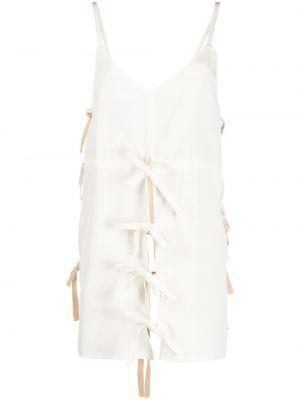 Biały tunika z wiskozy z dekoltem w szpic na paskach Colville
