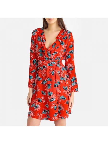 Платье миди с запахом с V-образным вырезом La Redoute