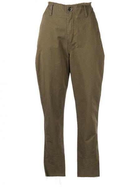 Хлопковые зеленые прямые джинсы с карманами на пуговицах Nobody Denim