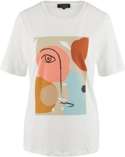 Хлопковая белая футболка Selected