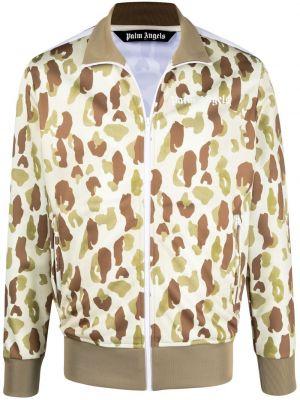 Brązowa długa kurtka z długimi rękawami z printem Palm Angels