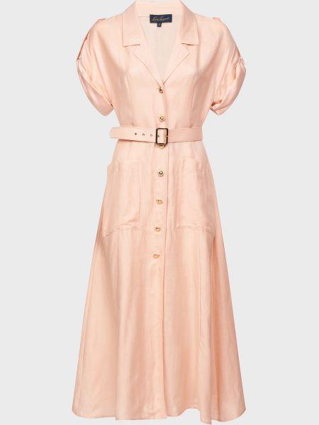 Розовое платье с поясом на пуговицах Luisa Spagnoli