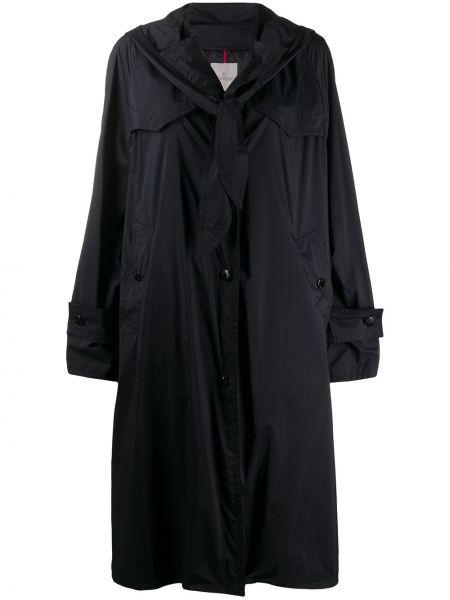 Свободное пальто с капюшоном оверсайз айвори на пуговицах Moncler