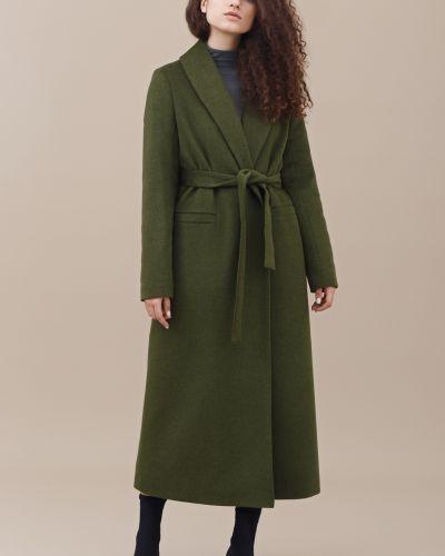 Шерстяное пальто - зеленое черешня