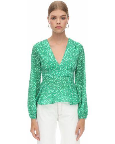 Zielona koszula z wiskozy z dekoltem w serek Rixo