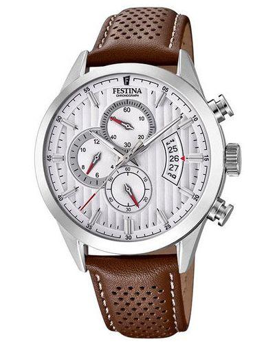 Brązowy zegarek sportowy Festina