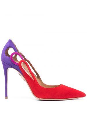 Красные замшевые туфли-лодочки на каблуке Aquazzura