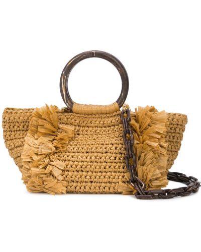Плетеная сумка-тоут круглая хаки Carolina Santo Domingo